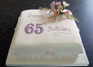 Outstanding 65Th Birthday Cake Lawrances Bakery Personalised Birthday Cards Veneteletsinfo